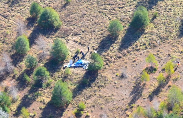 An aerial view of the plane crash that occurred Friday, Nov. 17 in Owls Head, taken Saturday, Nov. 18.