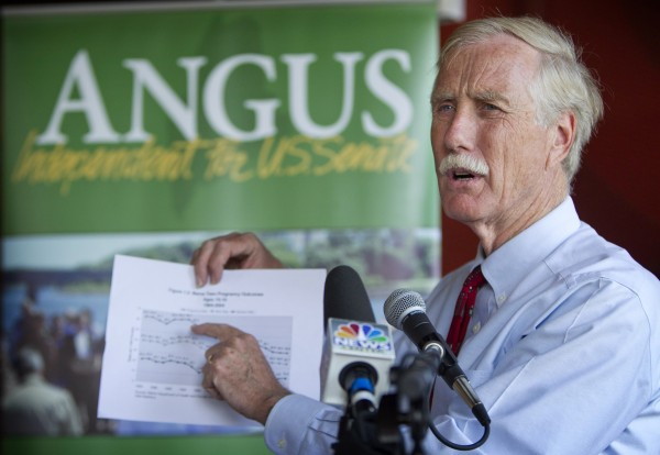 FILE - In this Aug. 17, 2012 file photo, Maine independent Senate candidate Angus King speaks at a news conference in Brunswick.