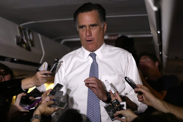 Republican presidential candidate and former Massachusetts Gov. Mitt Romney speaks to reporters en route from Pittsburgh to Boston, Tuesday, Nov. 6, 2012.