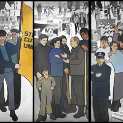 "The controversial mural by Judy Taylor that hung on the wall of the Labor Department's lobby in Augusta depicts the 1973 shoe mill strike in Auburn and Lewiston, a ""Rosie the Riveter"" image at Bath Iron Works, the paper mill workers' strike of 1986 in Jay, and other moments in Maine labor history."