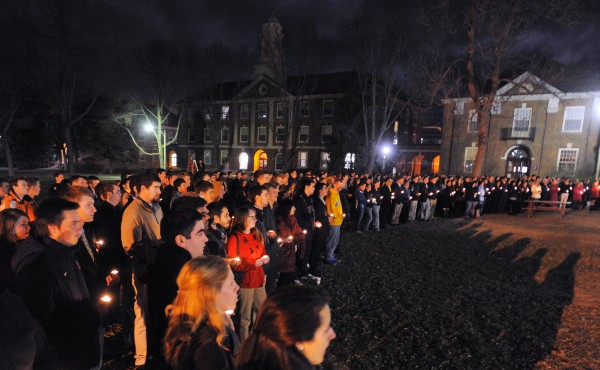 Hundreds of students and faculty gathered for a memorial service for the three fraternity brothers who were killed in a plane crash on Nov. 16, 2012. The three Lambda Chi Alpha members were David Cheney, Marcelo Rugini and William &quotBJ&quot Hannigan.