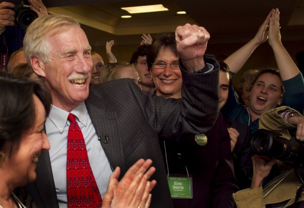 Independent Angus King celebrates his victory for the U.S. Senate seat vacated by Olympia Snowe, R-Maine, Tuesday, Nov. 6, 2012, in Freeport, Maine.
