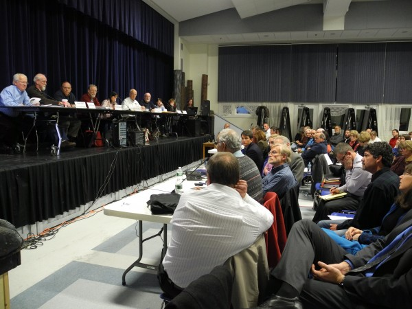 The Searsport Planning Board listens to the second day of testimony in this week's public hearings on the proposed liquid propane gas terminal and project on Tuesday, Nov. 27, 2012.