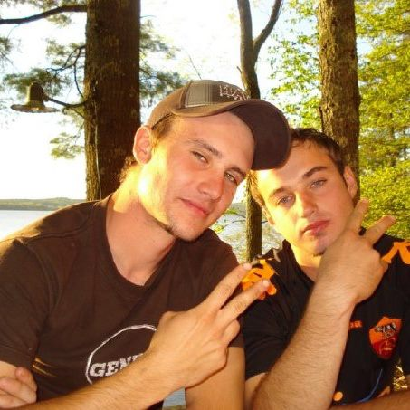 """Lambda Chi Alpha fraternity brothers and fellow Brazilians Lucas Bernardi (left) and Marcelo Rugini. Rugini, 24, of Muliterno, Rio Grande do Sul; fraternity president David Cheney, 22, of Beverly, Mass; and William """"BJ"""" Hannigan, 24, of South Portland all died on Friday, Nov. 16, 2012 in a plane crash in Owls Head."""