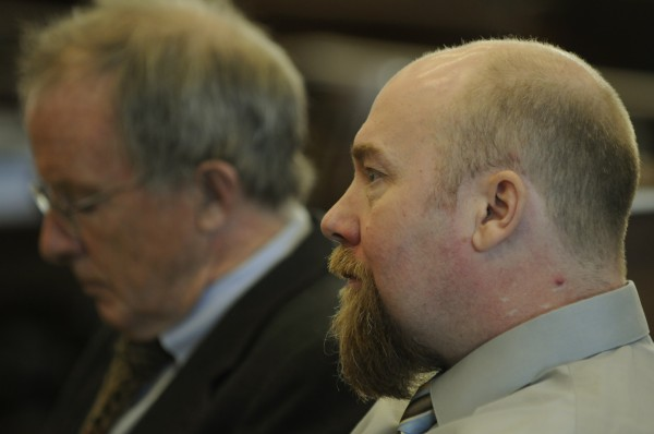 Robert Lee Nelson (right) sits with one of his defense attorney's John Alsop during opening arguments in his murder trial in Somerset County Superior Court in Skowhegan on Monday, Nov. 26, 2012. Nelson is accused of shooting Everett Cameron in the face with a handgun in October 2009.