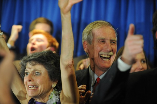 Angus King and his wife Mary celebrate at the Hilton Garden Inn in Freeport on Tuesday, Nov. 6, 2012.