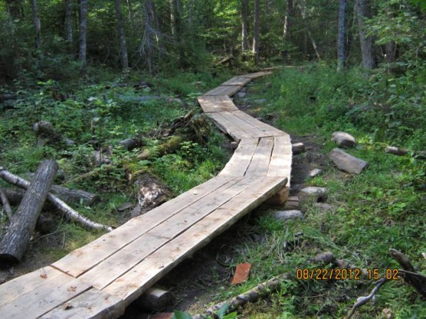 As one of the highlights of the past year, the Allagash Wilderness Waterway crew in September finished work on a bog bridge project on Indian Stream. The bridge project created a travel surface of at least 24 inches wide, with most sections consisting of three logs and 30 inches wide.