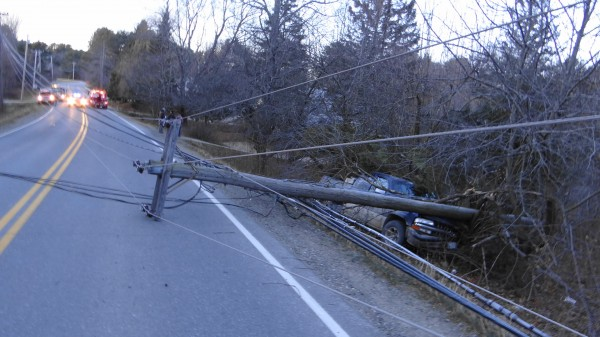 A single-vehicle crash Friday afternoon took down a utility pole, knocking out power to part of Belfast's east side.