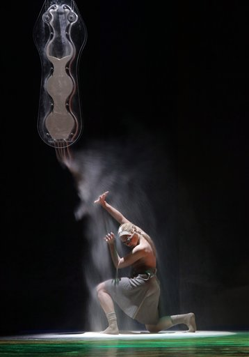 A Russian artist performs during the 25th International Festival of Modern Choreography in Vitebsk, Belarus, late Wednesday, Nov. 21, 2012.  Dancers from Germany, Estonia, Lithuania, Poland, Japan, Ukraine, Switzerland, Italy and other countries take part in the event.