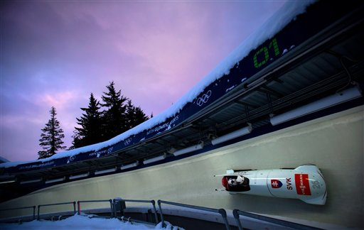 Milan Jagnesak and Vladimir Simik guide the Slovakia 1 bobsled down the track during the men's two-man bobsled World Cup event in Whistler, British Columbia, on Friday, Nov. 23, 2012.