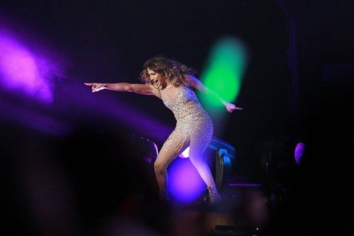 Jennifer Lopez performs during her concert in Shanghai, China on Saturday, Nov. 24, 2012.