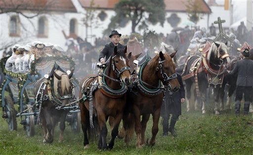 Horsemen steer their carriages over a rain-sodden meadow during the traditional Leonhardi pilgrimage in Bad Toelz, southern Germany, Tuesday, Nov. 6, 2012. The annual pilgrimage honors St. Leonhard, patron saint of the highland farmers for horses and livestock.