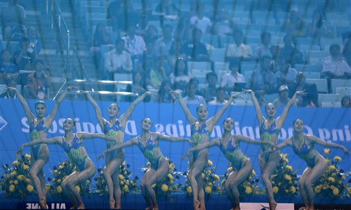 North Korea's Synchronized swimming team reflected in the pool water perform during the team technical final Synchronized swimming at the 9th Asian Swimming Championships, in Dubai on Thursday, Nov. 15, 2012.