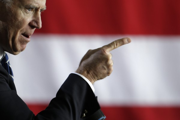 Vice President Joe Biden gestures as he speaks during a campaign rally at Arvada West High School Saturday, Nov. 3, 2012, in Arvada, Colo.