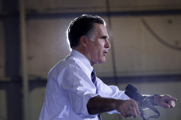 Republican presidential candidate former Massachusetts Gov. Mitt Romney speaks at a Florida campaign rally at Orlando Sanford International Airport, in Sanford, Fla., Monday, Nov. 5, 2012.