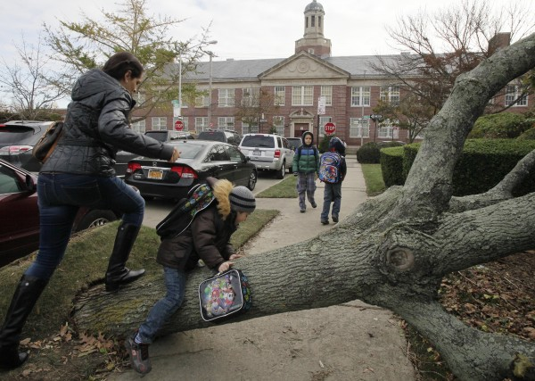 A woman and her son scramble over a tree toppled by Superstorm Sandy as she accompanies him to Public School 195, background, in the Manhattan Beach neighborhood of the Brooklyn borough, Monday, Nov. 5, 2012 in New York. Monday was the first day of public school for New York City students following the storm of a week ago. The woman declined to provide their names.