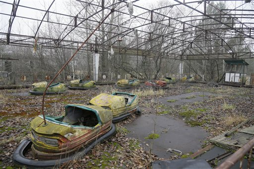 A playground in the deserted town of Pripyat, Ukraine, some 1.86 miles from the Chernobyl nuclear power plant Ukraine on Tuesday, Nov. 27, 2012.  Workers on Tuesday raised the first section of a colossal arch-shaped structure that is planned to eventually cover the exploded reactor at the Chernobyl nuclear power station. Project officials on Tuesday hailed the raising as a significant step in a complex effort to liquidate the consequences of the world's worst nuclear accident, in 1986.
