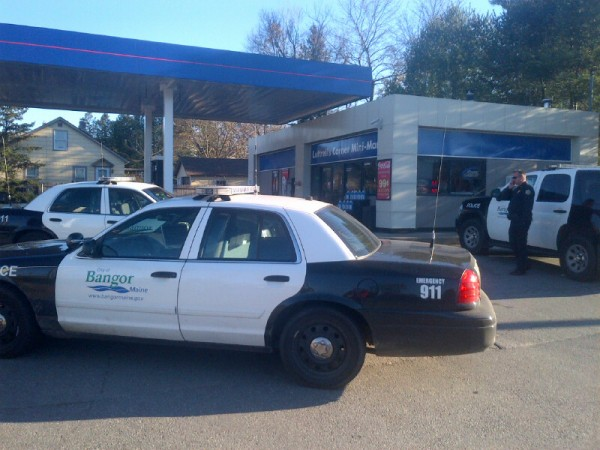 Bangor police respond to a reported robbery at Luttrell's Corner Mini-Mart, located at the corner of Union and 14th streets