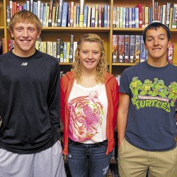 Officers for the Student Athlete Advisory Council at Brewer High School are (from left) Treasurer Matt Morrow, Secretary Glory Watson, and Chairman Ryan Lolar. Vice chair Meg Nickerson was absent.