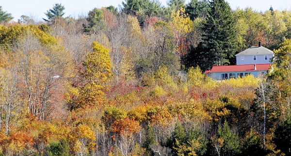 The red metal roof of a North Bucksport building contrasts with the autumn hues in this photo taken from Water Street in Winterport.