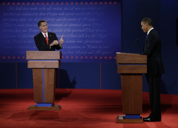 In this Oct. 3, 2012 file photo, Republican presidential nominee Mitt Romney points to President Barack Obama during the first presidential debate at the University of Denver in Denver.