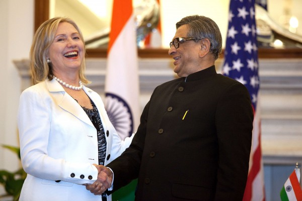 On a trip to New Delhi last year, Secretary of State Hillary Clinton met S. M. Krishna, then India's foreign minister.