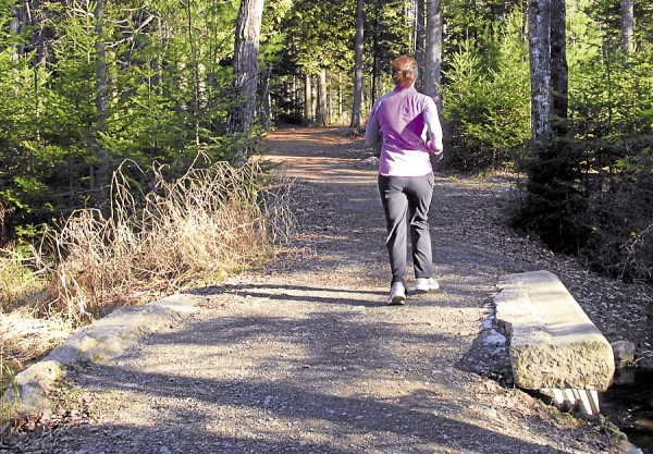 Taking advantage of a sunny mid-November afternoon, a jogger crosses the three-culvert bridge that takes Bog Brook beneath East Trail in Bangor City Forest.
