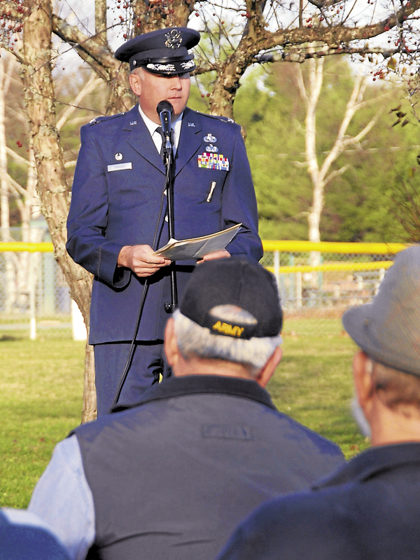 Col. John Thomas of the 101st Air Refueling Wing, Maine Air National Guard, speaks during a wreath-laying ceremony held Nov. 12, 2012 at the Holden Veterans Memorial.