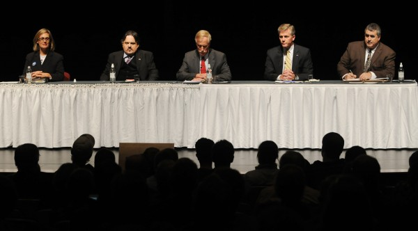 Left to Right: Cynthia Dill, Andrew Dodge, Angus King, Charlie Summers and Steve Woods line the Gracie stage on the Husson University campus on Wednesday Oct. 17, 2012.