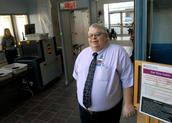 Steve Russell, manager of Security, Grounds and Parking Services, stands by the new security system at the Emergency Department of Eastern Maine Medical Center on Thursday, Nov. 29, 2012. According to Russell, the new security measures are preventative and are not due to any problems.