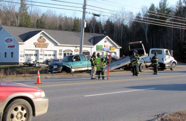 A two-vehicle crash on the Wilton Road, Route 2 and 4, slowed traffic along the four-lane highway Tuesday afternoon in Farmington.