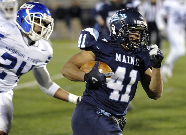 Maine running back Nigel Jones (41) breaks away from Georgia State defender Kail Singleton (24) to score in the second half of their NCAA college football game in Orono, Maine, Saturday, Nov. 10, 2012.