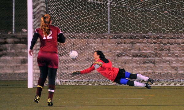 Washburn's goalkeeper Rayah Saucier (right) could not make the save on a shot by Richmond's Brianna Snedeker. After double overtime penalty kicks decided the outcome of the Girls Class D Championship game in Hampden Saturday evening.  Richmond won the game 2-1.