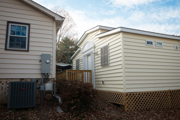 A MedCottage is shown behind a home in Alexandria, Va., on Nov. 23.  The small, high-tech cottages function like portable hospital rooms, and they're designed to allow a family to look after an aging or disabled loved one on their property.
