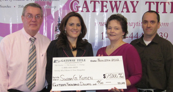 Gateway Title presents check for $15,000 to the Maine Affiliate of Susan G. Komen