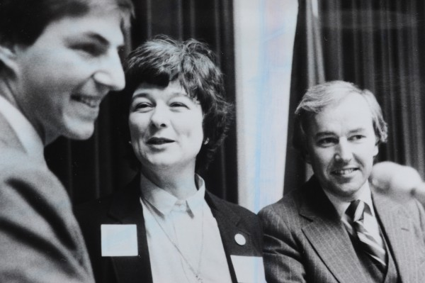 A Dec. 1982 black and white photo of John L. Martin, far right, with Libby Mitchell, center, and John Diamond, left.