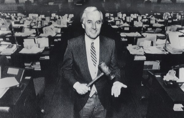 House Speaker John L. Martin poses with his gavel in the House chamber at the State House in Augusta in this January 1989 photo. In 1989 he entered his 25th year as a state legislator.