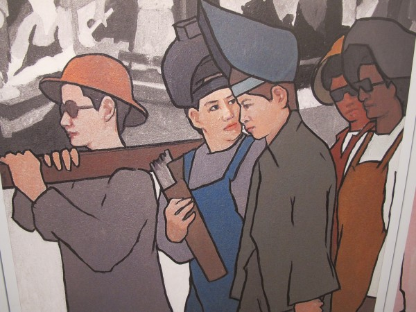 A full-scale replica of the controversial 11-panel labor mural ordered removed from the Maine Department of Labor by Gov. Paul LePage in March 2011 is on display at the Blue Hill Public Library, where it will remain through Dec. 14.