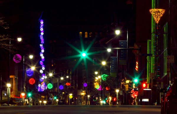 Holiday lights shine through the night on a quiet Congress Street early Thursday, Nov. 29, 2012, in Portland.