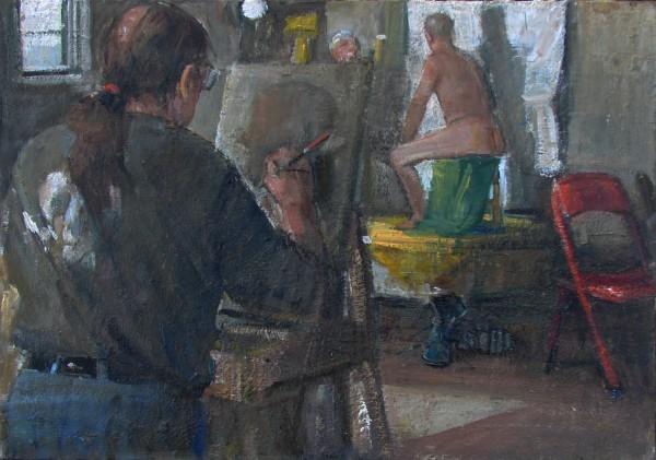 Nancy Morgan Barnes, Searsport, ME &quotRobert Pollien Painting, oil, 11&quot x 16&quot