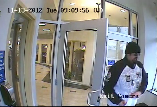 Portland police distributed this surveillance camera picture of a man they say robbed a Bangor Savings Bank branch on Brighton Avenue Tuesday morning at around 9 a.m.