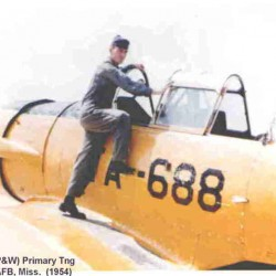 Pilot trainee Richard Gay boards a T-6 Texan at Columbus Air Force Base, Miss. in 1954.