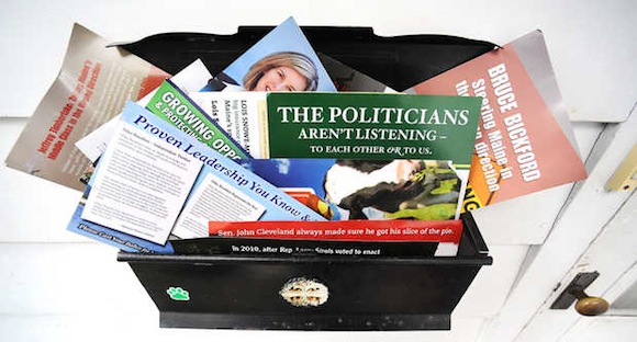 A photo illustration from the Sun Journal newspaper showing some of the political mailers that have been clogging up mailboxes this season.