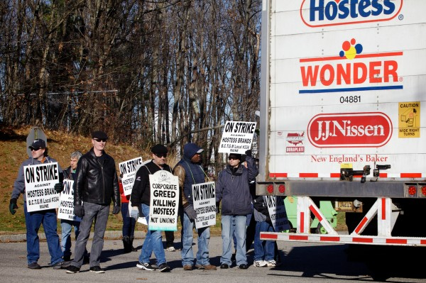 Members of the Bakery, Confectionery, Tobacco Workers and Grain Millers Union walk the picket line outside the Hostess bakery in Biddeford Wednesday, Nov. 14, 2012, where they've been since 5 p.m. Friday. Workers say the company is picketing their retirement fund contributions.