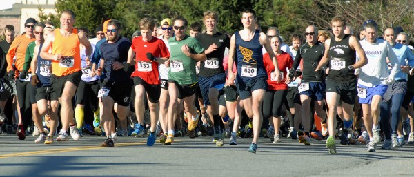 Runners take off at the start of the 31st annual Turkey Trot in Brewer on Sunday afternoon. The 3-mile race presented by the Sophomore class of Brewer High School was the largest turnout so far with 781 runners participating.