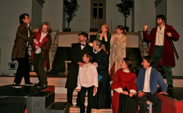 Henry Thoreau demands to be arrested by Sam Staples in the play, &quotThe Night Thoreau Spent in Jail.&quot The cast of Theater at the Union Street Brick Church left to right: Scott Weeks, Dylan Brennan, Dennis Hamrick, Nicholas Flanzala, Kelly Nelson-Santiago, Sara Weeks, Heidi Ravenscraft, Macey Jennings, Ivan Flanzala, and Stephan Metropolous.
