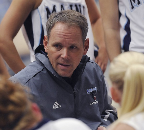 University of Maine women's basketball coach Richard Barron talks to his players during an exhibition game against New Brunswick on Oct. 29 in Orono. Barron's team is off to a 1-5 start and he is upset with its performance in a Sunday loss to Virginia Commonwealth.