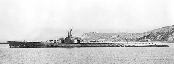 The submarine USS Tang lies in the water near Mare Island Navy Yard in California in 1943.