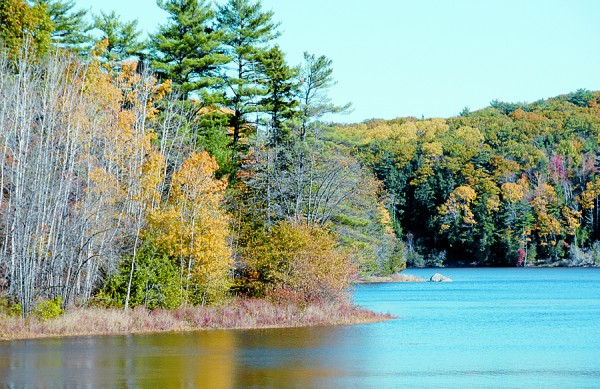 At Bald Hill Cove in Winterport, the Penobscot River flows past late October colors in Winterport (left) and Orrington (right).