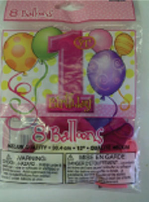 Baby's 1st Birthday Balloons by by Unique Industries Inc. is a problem because CPSC balloon warning restricts balloons from children under 8 year old.